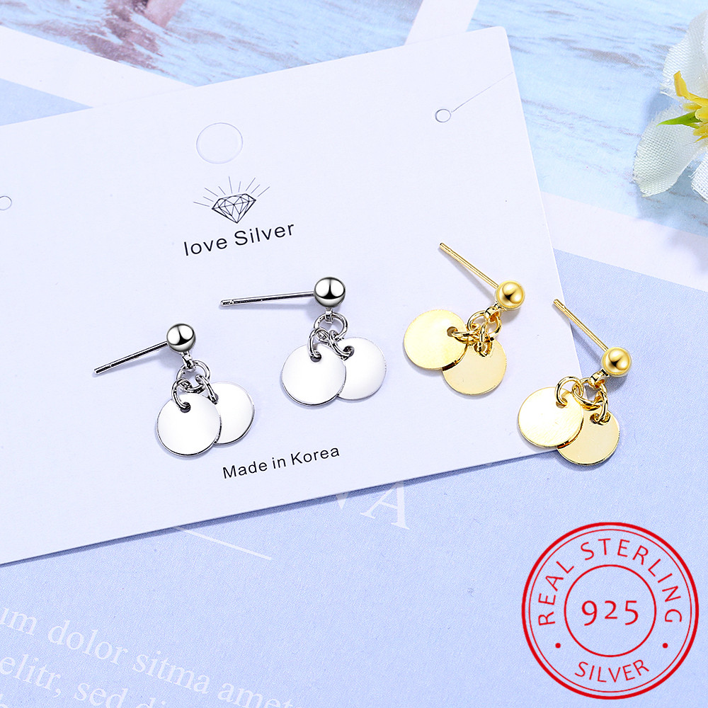 100% 925 Solid Real Sterling Silver Women's Jewelry Round Sheet Stud Earrings Gift For Teen Girls Kids Lady Jewelry DS952