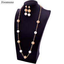 Jewelry Long Pearl Chain Necklace Earrings Womens Sets High Quality Fashion 2017 For Party Wedding Daily MN61S