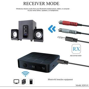 Receptor y transmisor de Audio 2-en-1 Bluetooth 5,0, soporte AUX, conector de 3,5mm y RCA, adaptador inalámbrico de música estéreo para TV, coche y altavoces portátil