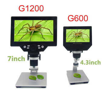 G1200 1-1200X HD mikroskop cyfrowy mikroskop wideo 12MP 7 Cal kolorowy ekran wyświetlacz LCD ciągłe wzmocnienie lupa tanie i dobre opinie lefavor 500X-1500X Wysokiej Rozdzielczości Handheld PORTABLE G1200X Ze stopu Aluminium ze stopu Aluminium Monokularowy