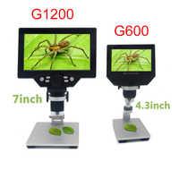 G1200 1-1200X HD цифровой микроскоп видео микроскоп 12MP 7 дюймов цветной экран ЖК-дисплей непрерывное усиление Лупа