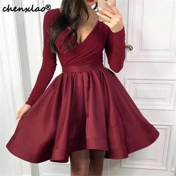 Burgundy Homecoming Dress 2019 Deep V-Neck Modest Velvet Long Sleeves Satin Ruffles Homecoming Dresses Graduation Gowns фото