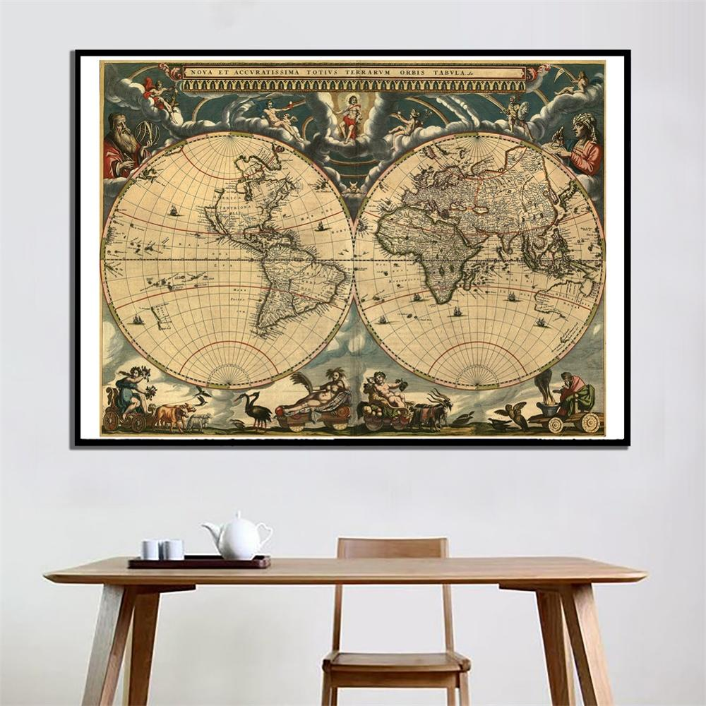 60x90cm Vintage World Latin Map Home Wall Decor Map HD Canvas Spray Painting For Office And School Wall