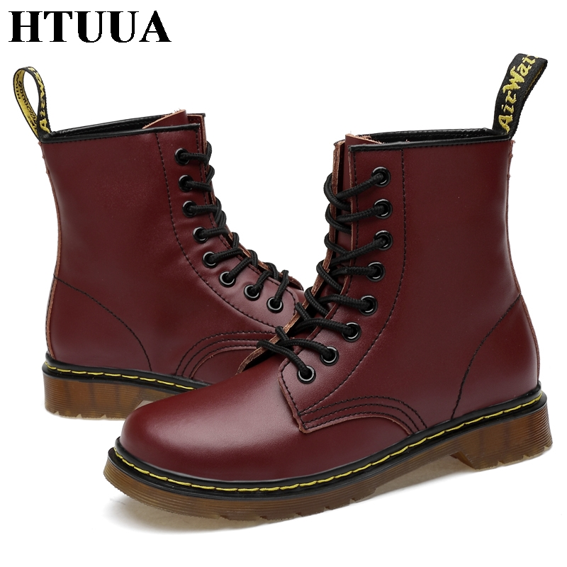 Image 4 - HTUUA 35 46 Genuine Leather Women Boots Fall Winter Warm Fur Ankle Martens Boots Woman Couple Casual Dr. Motorcycle Shoes SX3348-in Ankle Boots from Shoes