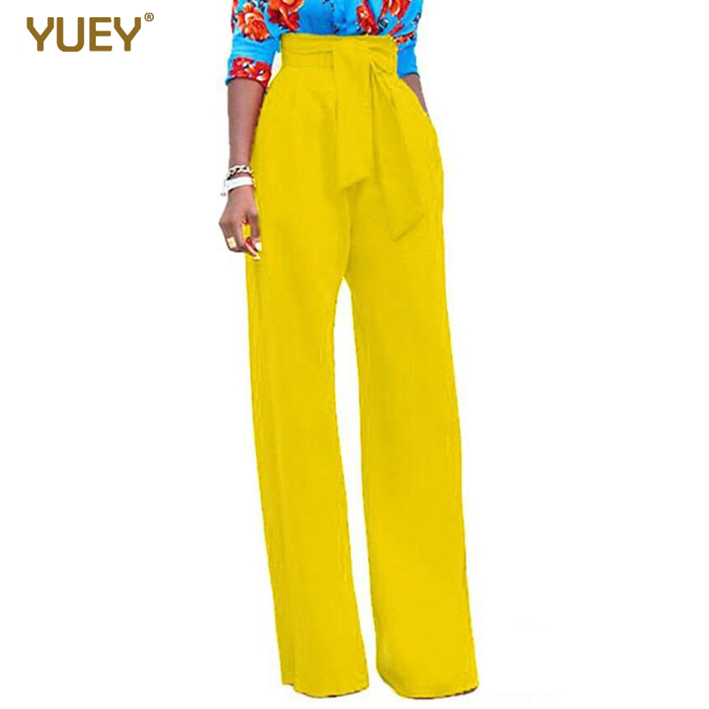 Women Fashion Pants High Waist Long Full Length Solid Color Highstreet Trousers With Belt Loose Wide Leg Yellow Red Blue