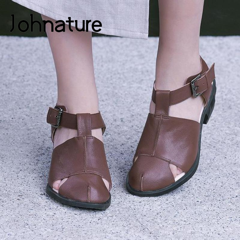 Johnature Genuine Leather 2020 New Spring Summer High Heels Sandals Women Shoes Buckle Strap Retro Casual Shallow Ladies Sandals