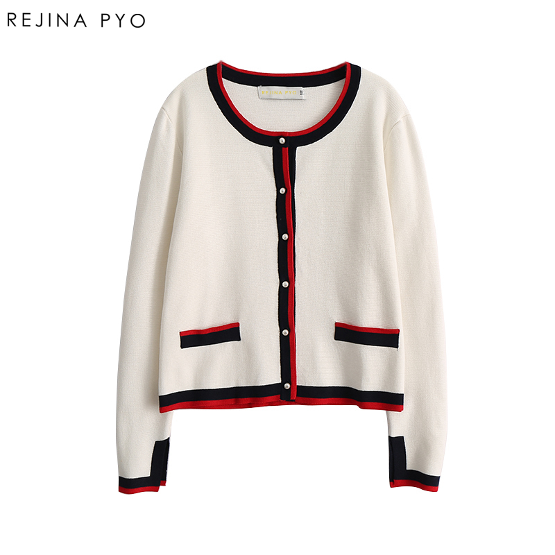 REJINAPYO 2019 Spring New Arrival Women Chic Cardigans Pearl Decoration Buttons Knitted Open Stitch Color Hit Casual Outerwear