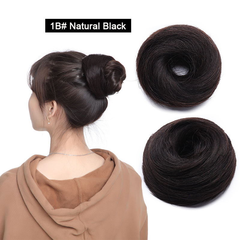 Sego, европейские человеческие волосы, не Реми, резинка, шиньон, 23 г, черный, коричневый, натуральный, Dount, шиньон, 6 цветов, человеческие волосы, чистый цвет - Цвет: # 1B