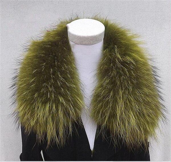 Женский шарф теплый подарок из меха енота ожерелья для куртки шарфы Banand Schal теплый натуральный зимний меховой шарф для женщин - Цвет: green