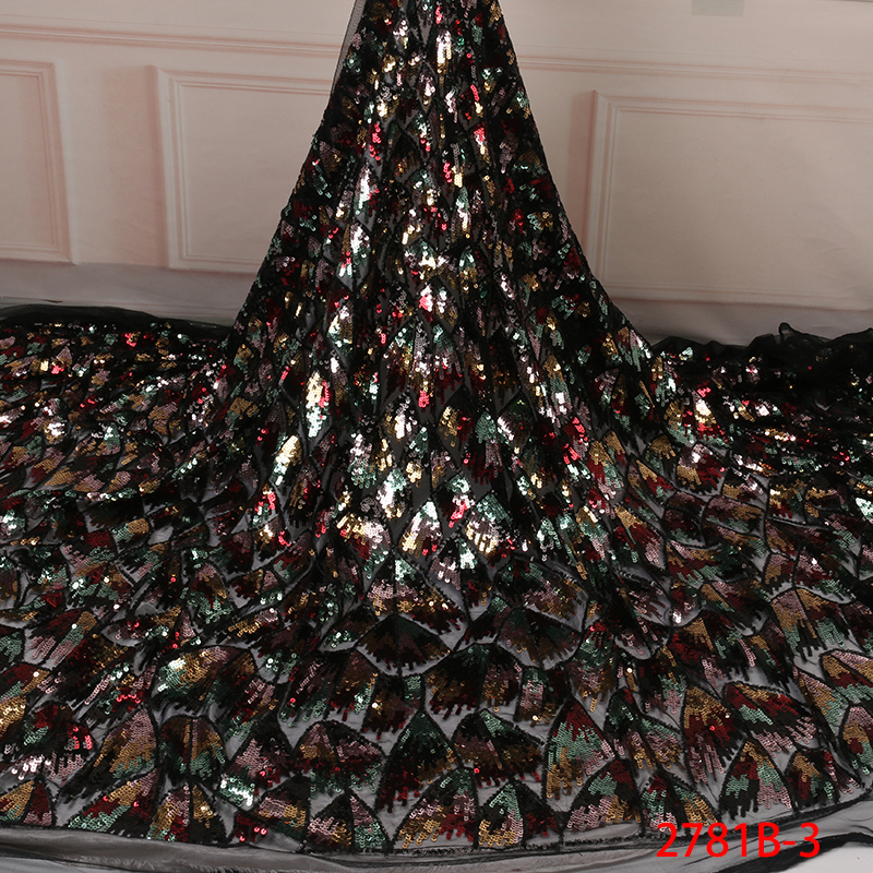 Image 4 - Fashion African Tulle Lace Fabrics with Sequins High Quality  Nigerian Net Lace for Bridal Material Sequins Lace Fabrics  APW2781BLace