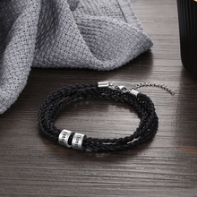 Personalized Engraved Braided Rope Bracelet for Men Stainless Steel Beads Custom Family Names ID Bracelets & Bangles Gifts