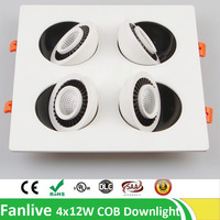 8pcs/lot Downlight Cob 4x7W 4x10W 4x12W 4 Head Rotate 360 Degree COB LED Downlight Recessed Down Lamp Warm White Cool White