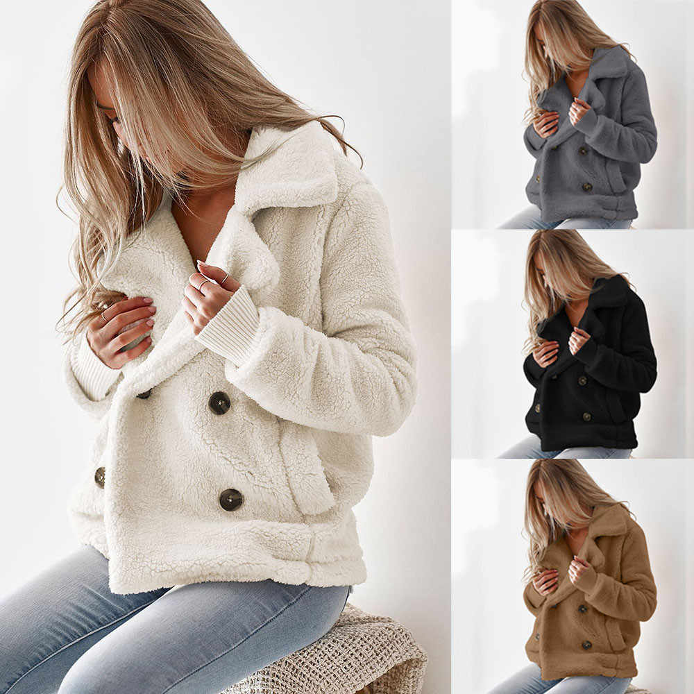 Pluche Jas Plus Size Dikke Fleece Jas Winter Vrouwen revers lange mouwen button pocket Teddy Jas Pluche Uitloper Overjas 8.23