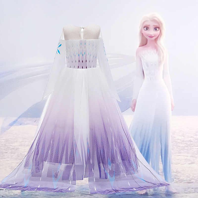 Disney Elsa prenses elbise yeni çocuk giyim dondurulmuş 2 Aisha prenses elbise kostüm kız örgü elbise