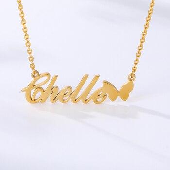 Collar de nombre personalizado, Colgante para Nombre de mariposa bonita de acero inoxidable para mujeres, joyería hecha a mano para niños