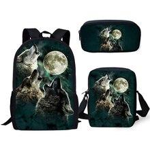 HaoYun Kids Fashion Backpacks 3PCs Set Cartoon Wolf Animal Pattern School Book Bags Fantasy Students Backpack/Flaps Bag/Pen Bag