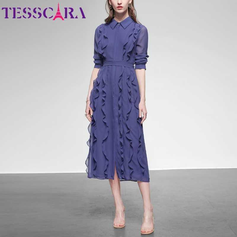 TESSCARA 여성 봄 여름 우아한 시폰 드레스 셔츠 고품질 오피스 칵테일 파티 가운 Femme Ruffle Designer Vestidos