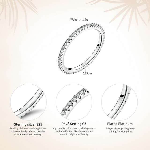 WOSTU Hot Sale 100% 925 Sterling Silver Styles Stackable Ring Party Finger Wedding Rings For Women Original Fashion Jewelry Gift 4
