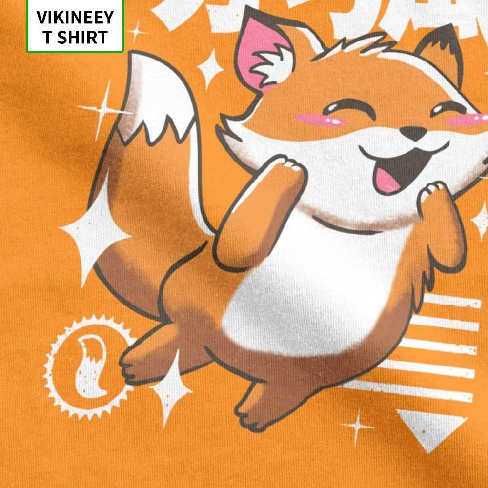 Erkekler Kawaii tilki T Shirt sevimli hayvan japon 100% pamuklu giysiler komik kısa kollu Crewneck Tee gömlek büyük beden tişört
