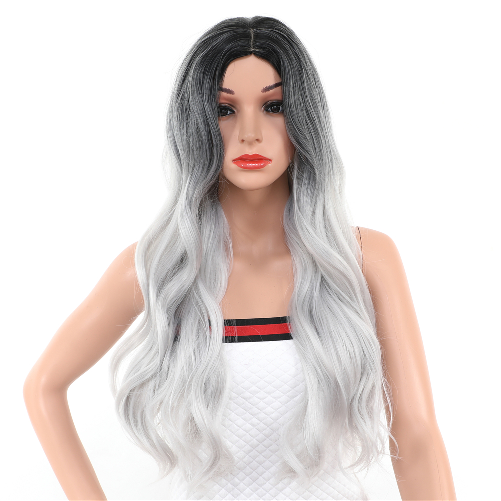 30 Inch Ombre Wig Middle Part High Temperature Fiber Synthetic Hair 1B/Grey White Long Wavy Body Wave Wigs For Women Cosplay