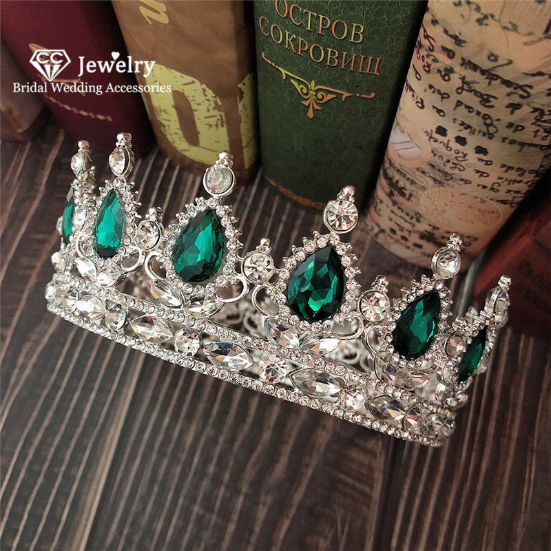 CC Tiara Crown Hair Jewelry Hairband Headband Engagement Accessory for Bridal Luxury Party Hairwear Queen Tiaras Big Crowns YQ20