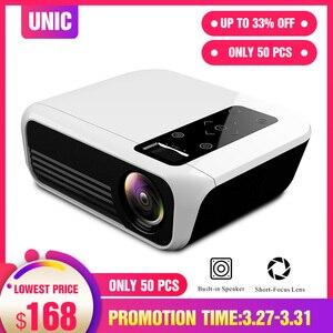 Светодиодный проектор UNIC T8 1920x1080, разрешение 200 дюймов, Full HD, Wi-Fi, синхронизация с экраном 7000 лм, HDMI, USB, ЖК-объектив, домашний кинотеатр