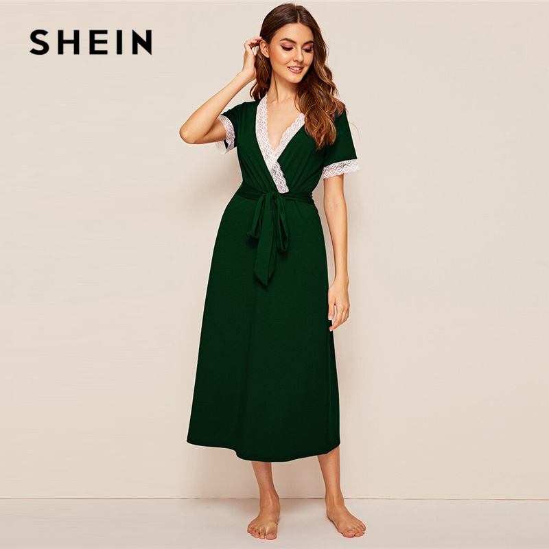 SHEIN Green Deep V Neck Lace Trim Self Belt Wrap Night Dress Women Nightwear 2019 Autumn Short Sleeve Sexy Ladies Sleepwear