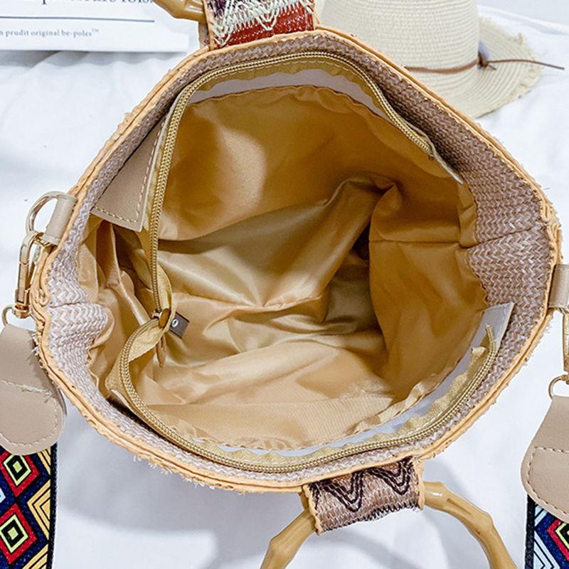 Women 39 s straw bag shoulder Messenger bag ring handbags hit color multi purpose Handmade casual woven Beach bag for women 2019 in Shoulder Bags from Luggage amp Bags