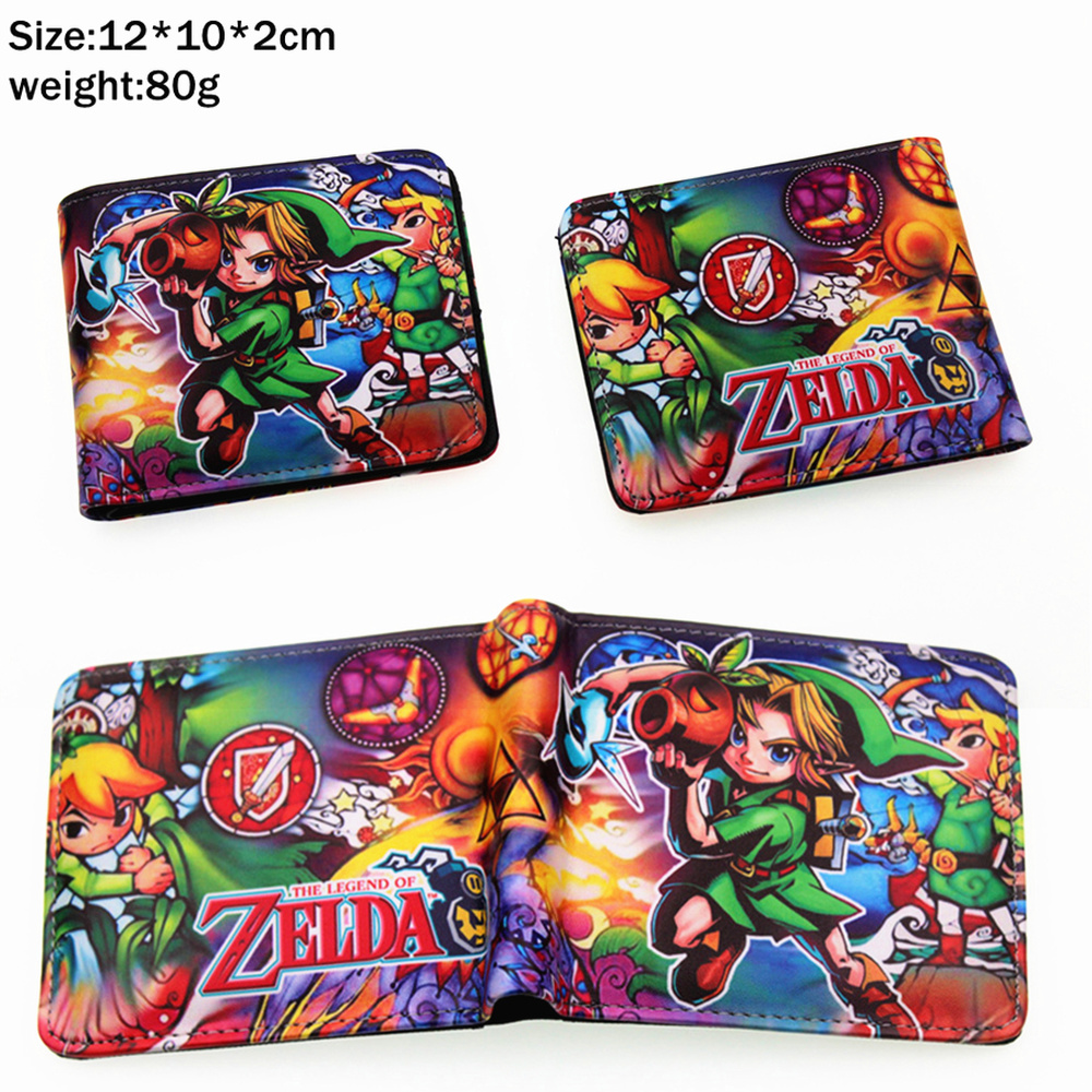 Game The Legend Of Zelda Breath Of The Wild Pu Short Wallet Bifold Photo Card Holder Layers Leather Boys Coin Zip Pocket Purse