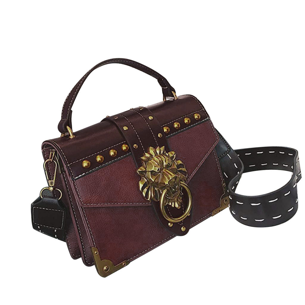 Hc7a8e3f880bb4f729318c8bb3f45c204I - Handbags Women Bags  Golden Lion Tote Bag With Zipper Fashion Metal Head Shoulder Bag Mini Square Crossbody Bag G3