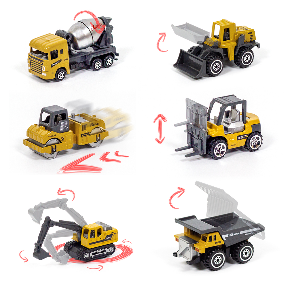 Mini Alloy Construction Truck Toys 1:64 Diecast Engineering Toy Vehicles Excavator Bulldozer Forklift Dump Truck Model For Kids