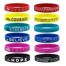 Encourage Dream Courage Strength Believe Faith Hope Silicone Sports Bangles Women Fluorescent Rubber Fitness Wristband Bracelet