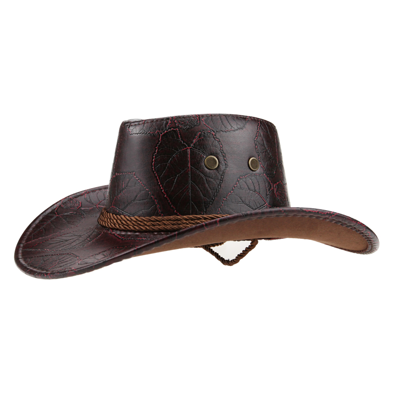 Halloween Costume <font><b>cowboy</b></font> <font><b>hat</b></font> men/women horse riding sun <font><b>hat</b></font> leather Outdoor Wide Brim cap Travel Performance Western <font><b>Hats</b></font> Visor image