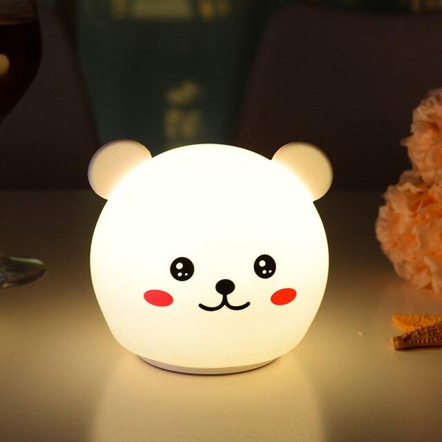 Oso gato perro cerdo Panda LED luz nocturna Sensor táctil colorido temporizador USB recargable silicona lámpara para niños bebé regalo