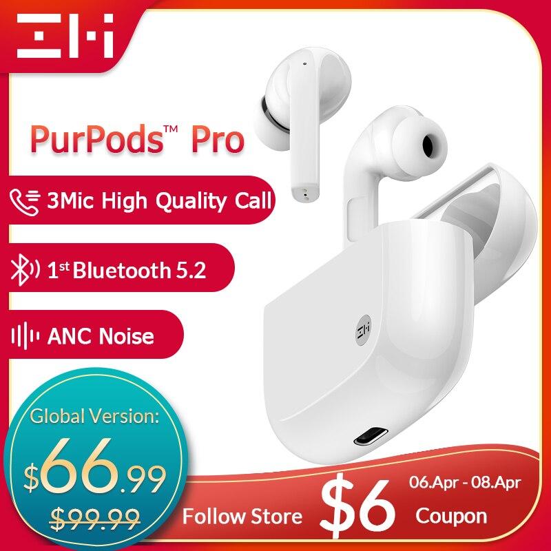 Глобальная версия ZMI PurPods Pro, первый в мире, Bluetooth 5,2, настоящие беспроводные наушники, ANC, 3Mic, защита от шума, водонепроницаемые наушники-вклады...