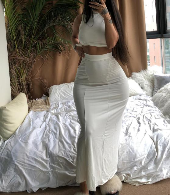 Gray Stretchy Snug Kylie Jenner Outfits Women Party Tank Tops And Long Ruched Skirts Sets Summer Two Piece Matching Tracksuit 2