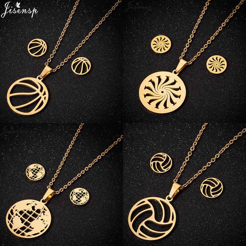Jisensp klasyczny w stylu Vintage koszykówka siatkówka zestawy biżuterii ze stali nierdzewnej dla kobiet geometryczne okrągłe Choker naszyjnik kolczyki