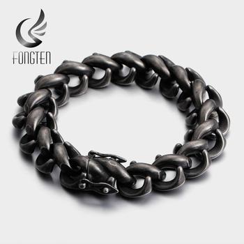 Fongten Retro Black Cuff Bracelet Men Stainless Steel Wide Viking Men's Bracelets Bangle Fashion Jewelry