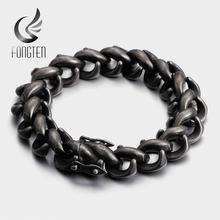 Fongten Retro Black Cuff Bracelet Men Stainless Steel Wide Viking Men's Bracelets Bangle Fashion Jewelry