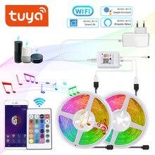 Tira de luces LED WiFi para habitación, tira de luces Led inteligentes RGB 5050, 12V, 5M, 10M, sincronización de música, Control remoto, cinta luminosa