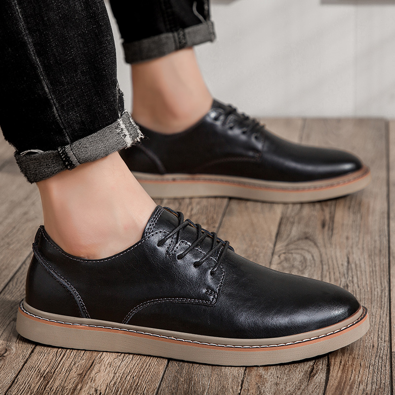 Casual shoes breathable Leather Loafers Office Shoes For Men outdoor fashion Driving Moccasins Comfortable lace up shoes s5