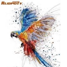 Набор для рисования по номерам на холсте с изображением попугая
