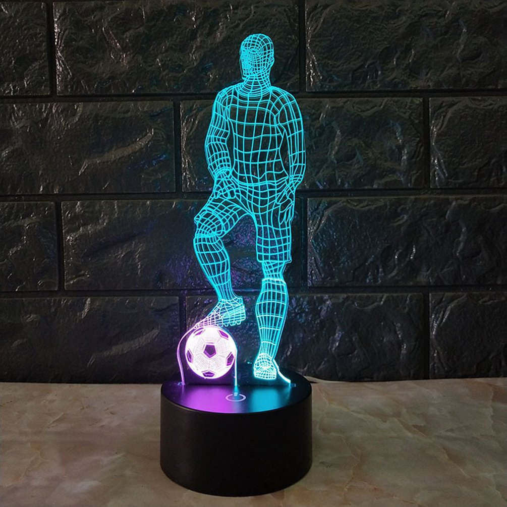 Funny 3D Soccer Touch Table Lamp 7 Colors Changing Desk Lamp USB Powered Night Lamp Football LED Light For Bedroom