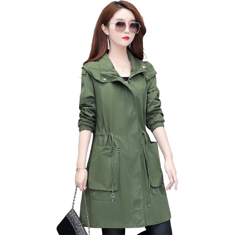 Women Fashion Long Trench Coat New Spring Autumn Slim Hooded Zipper Casual Jacket Woman Plus Size Black Windbreaker Outerwear