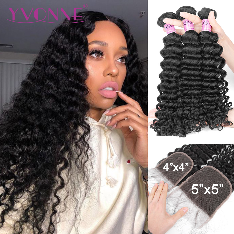 Yvonne Deep Wave Bundles With Closure Brazilian Virgin Human Hair Weave 3/4 Bundles With Closure 4x4/5x5