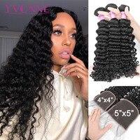 Yvonne Deep Wave Bundles with Closure Brazilian Virgin Human Hair Weave 3/4 Bundles With Closure 4x4/5x5