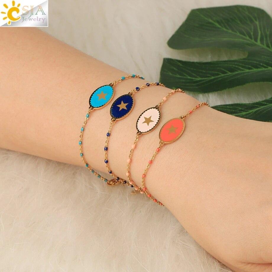CSJA Stainless Steel Bracelet Women Enamel Star Charm Gold Color Link Chain Beaded Luxury Thin Acier Inoxydable Bracelets S718
