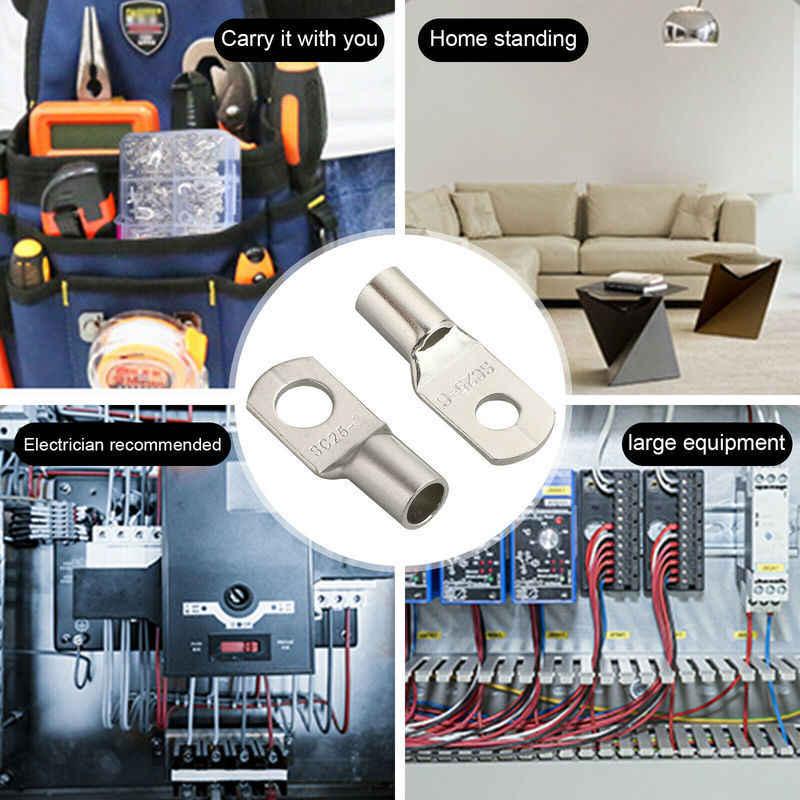 10/25 Uds SC35-6 35-8 35-10 conectores de anillo de alambre cobre tubo Lug cobre estañado con orificio para perno Cable lugs terminales de batería