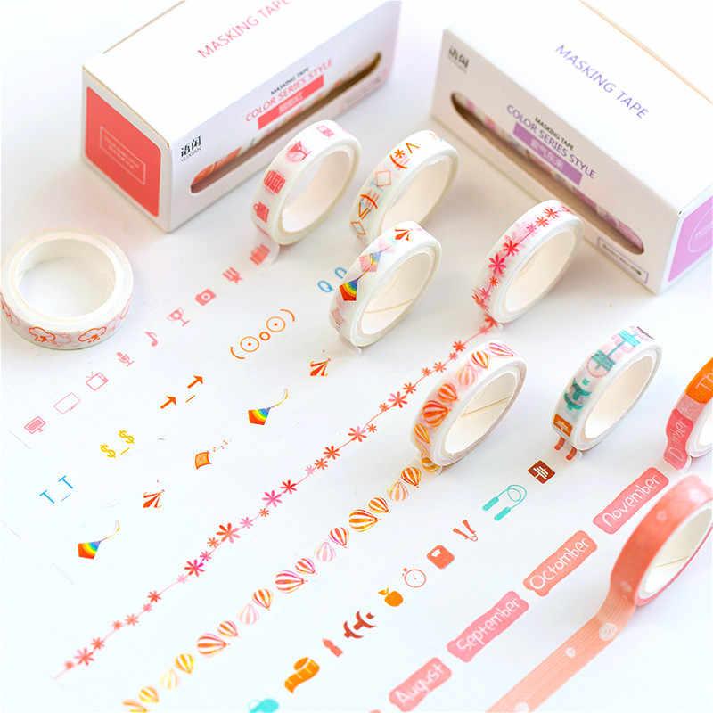 10 יח'\סט Washi חמודה דקורטיבית דבק מוצק צבע מיסוך קלטת מדבקות רעיונות DIY מכתבים קלטת