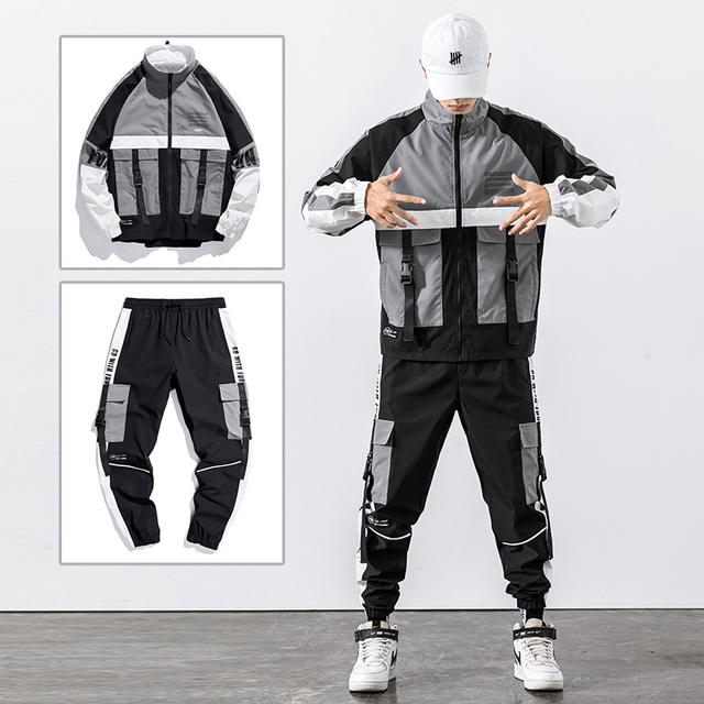 2021 Hip Hop Workwear jacket Mens Tracksuit Jacket+Pants 2PC Sets baseball loose Zipper Ribbons Coat & Long Pants Mens Clothing 2